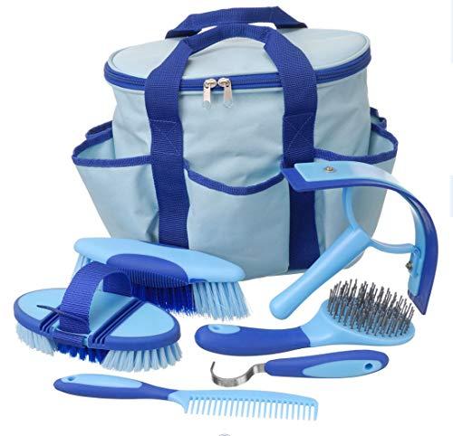 Tough 1 Horse Grooming Kit Great Grips Brushes Comb Hoof Pick Sweat Scraper Blue
