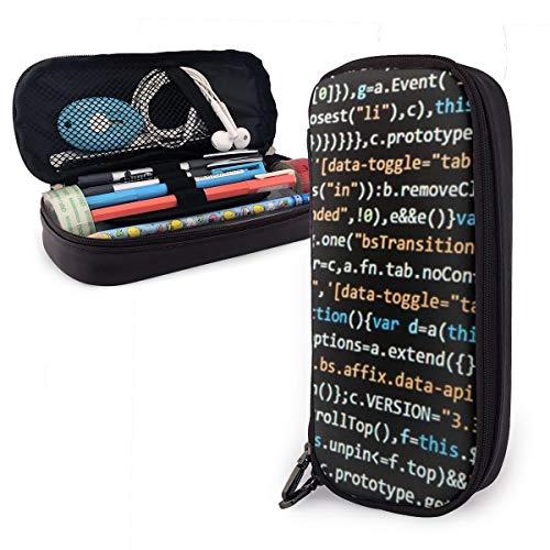 Khtti Code World Federmäppchen mit großem Fassungsvermögen, PU-Leder, Schwarz, Einheitsgröße