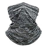 GasMo Summer Cool Breathable Seamless Bandanas Face Mask, Multifunction Ice Silk Cooling Sports Balaclava Headband Neck Gaiter Scarf for Men & Women(Hemp Gray2)