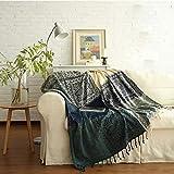 Mantas Foulard, Manta de chenilla, Manta para sofá, Funda Multiusos Foulard Cubre, Manta en diseño de retales, cálida decorativa para el hogar,oficina, viajes(caqui, 220*250CM)