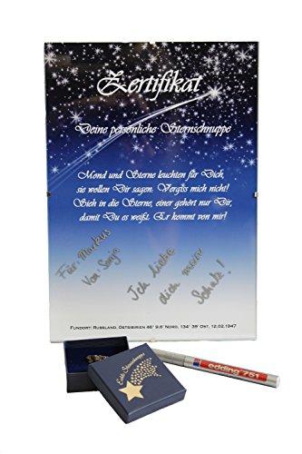 FUNICE Echte Sternschnuppe in Geschenkbox mit Urkunde und Stift zum selbstbeschriften