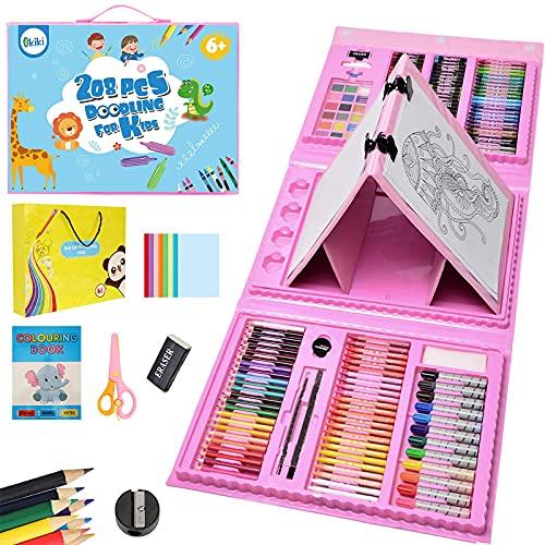 PENCCOR Premium Malset Deluxe – 208-teilig – Malkoffer für Kinder Anfänger Tolles-Buntstifte Set, Wasserfarben, Ölpastellfarbe, zeichenstifte, Bleistifte als Zeichenset Geschenk Kinder