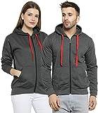 Scott International Couples Combo of Cotton Sweatshirt with Zip (SSLZ1-2PC-S-XL , Charcoal)