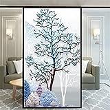 Xijier Vinilo decorativo para ventana de Nordic Tree Privacidad no adhesivo de vidrio esmerilado para ventana de puerta de ventana de 40 x 140 cm