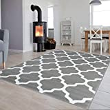 Tapiso Collection Luxury Alfombra de salón Dormitorio Moderno Color Gris Oscuro de Color Blanco...