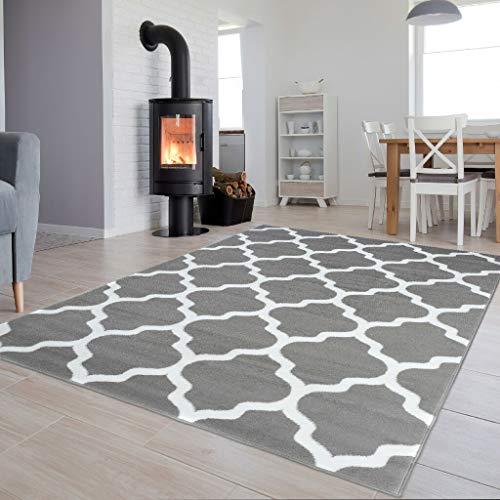 TAPISO Luxury Teppich Kurzflor Modern Marokkanisch Geometrisch Kleeblatt Gitter Muster Hellgrau Weiss Wohnzimmer ÖKOTEX 80 x 150 cm