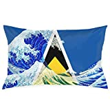 gong Bandera de Santa Lucía y Wave Off Kanagawa Fundas de Almohada Fundas de Almohada Decorativas Funda de cojín Suave y acogedora con Crema