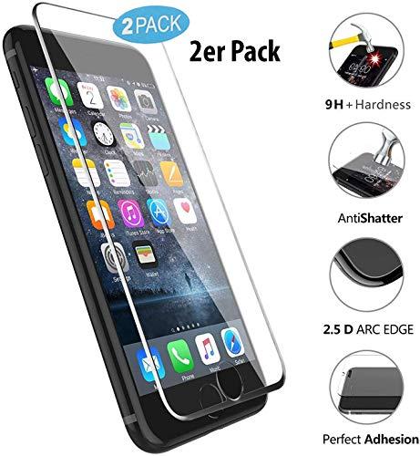 VAPIAO 2er Pack 2 Stück [Panzerglas Folie] [Glas mit Silikonlippe] kompatibel mit iPhone 8, 7 Full Cover Panzerfolie 9H 3D Curve Glasprotektor Glasfolie Clear Schutzfolie Echtglas