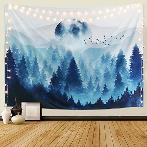 Dremisland Misty Wandteppich Wald Baum Nebeliger Berg Tapisserie Mandala Tuch Wandtuch Wandbehang Natur Landschaft Dekoration für Schlafzimmer Wohnzimmer (Nebeliger Wald, L / 148x200cm)