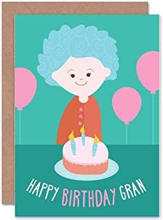Wee Blue Coo CARD BIRTHDAY HAPPY GRAN GRANNY CAKE CANDLES BALLOON GIFT
