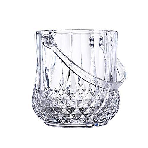MUBAY Cubiteras Ice Bucket para Interior y Exterior 1L Cubo de champán Elegante Cristal con Asas, Cubo de Enfriador de Vino, Cubo de acrílico, Seguro Barra de Hielo Cubo de Hielo