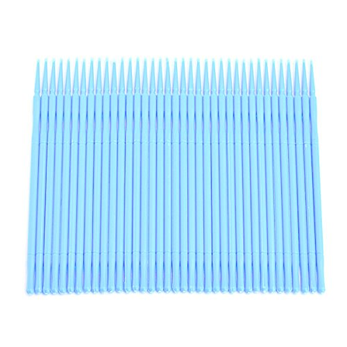 Healifty 100pcs jetable micro applicateur brosses extension de cils coton tige mascara brosse baguettes (bleu ciel)