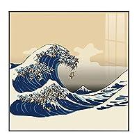 Suuyar 和風海の波キャンバス絵画ポスターとプリントスクエア家の装飾壁アート写真リビングルームの寝室-60X60Cmフレームなし