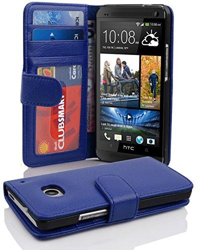Cadorabo Hülle für HTC ONE M7 (1. Gen.) - Hülle in Neptun BLAU – Handyhülle mit 3 Kartenfächern - Case Cover Schutzhülle Etui Tasche Book Klapp Style
