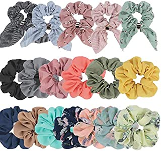 Ondder 18 Pack Scrunchies for Hair with Bow, Hair Scrunchies, Silk Scrunchies, Satin Scrunchies, Bow Scrunchies for Hair, Hair Scrunchies for Women, Cute Big Scrunchies