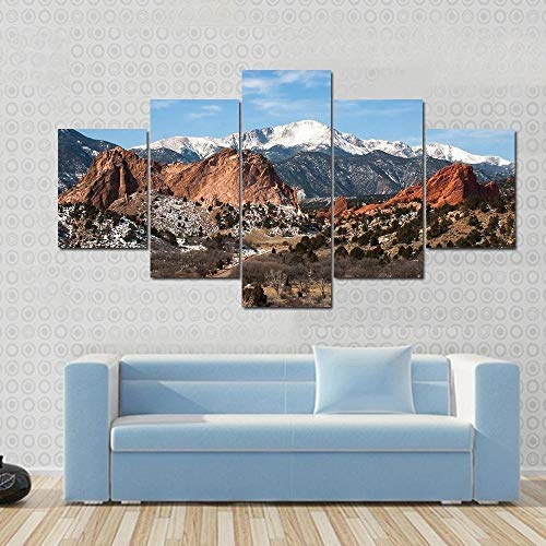 QWASD 5 Panels Canvas Wall Art Paintings For Home Decor Gardens In Colorado 5 Piece Modern Artwork Pictures Posters Wallpaper Mural Home Office Gift Stretched Ready To Hang(150Cmx80Cm)