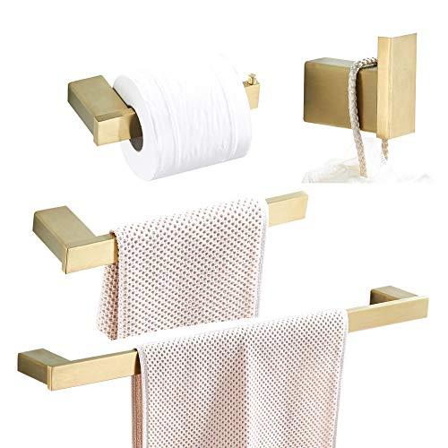 WOMAO Badezimmer Zubehör Set Gold Gebürstet Wandmontage Edelstahl Handtuchhalter 60cm Duschwand 4er Set für Dusche Handtuchhaken Toilettenpapierhalter
