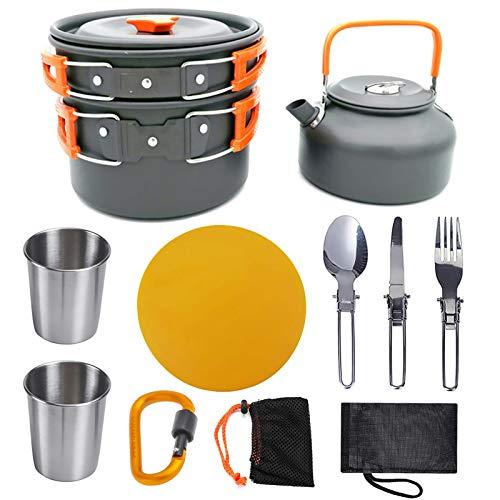 Pote al aire libre tetera de camping de la olla con la taza de la tapa la tetera de tetera portátil apilable luz apilable pequeño bolso impermeable para senderismo mochila de viaje ( Color : Orange )