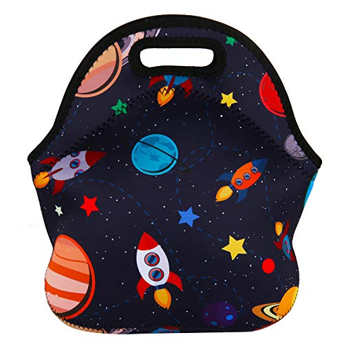 Violet Mist Neoprene Lunch Bag Tote Reusable Insulated Waterproof School Picnic Carrying Lunchbox Container Organizer For Women, Men, Adults, Kids, Girls, Boys (Space Rocket)