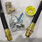Image of Natural Gas Cooker Fitting Kit - 1200mm / 4ft Cooker Hose - Safety Cooker Chain - Bayonet Socket - Gas PTFE Tape