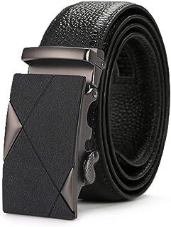 YANGFAN ベルト メンズ 本革 オートロック式 ベルト ビジネベルト スライド式バックルベルト 大きいサイズ 紳士 スーツベルト ブラック