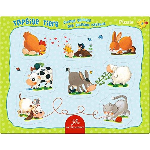 Spiegelburg 14045 Rahmenpuzzle mit Fingerlochstanzung Tapsige Tiere (8 Teile)