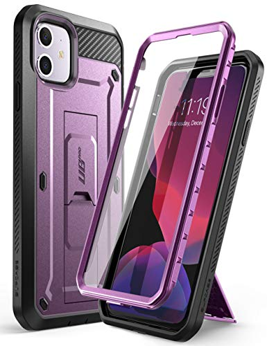 SupCase iPhone 11 Hülle 360 Grad Handyhülle Outdoor Case Bumper Schutzhülle Full Cover [Unicorn Beetle Pro] mit Integriertem Displayschutz und Gürtelclip 6.1 Zoll 2019 Ausgabe (Lila)