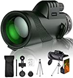 SIHEA Monocular Telescope for Adults Kids, 12X50 HD Cosmic Scope Monocular for iPhone with Smartphone Holder & Tripod, Waterproof Zoom Scope BAK4 Prism FMC for Bird Watching Wildlife Hiking