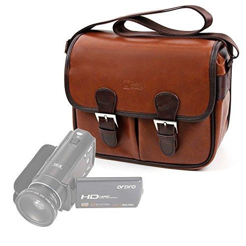 DURAGADGET Bolsa Profesional marrón con Compartimentos para Videocámara Andoer HDV-Z20 | Mini | Andoer ORDRO HDV-Z8 | Besteker | JVC GZ-RX615