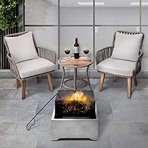 Peaktop Firepit Wood Burning Fire Pit Concrete Style with Steel Poker PT-FW0005, Grey/Black