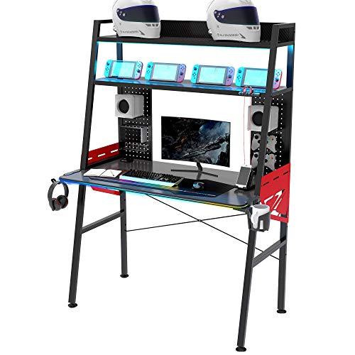 EUREKA ERGONOMIC Gaming Schreibtisch M43 Gaming Tisch mit RGB Beleuchtung Multifunktionaler Gamer Tisch Groß 110*60*159 cm Schwarz