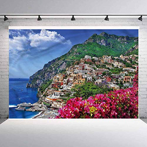 5x5FT Vinyl Wall Photography Backdrop,Italy,Positano Amalfi Naples Background for Baby Shower Bridal Wedding Studio Photography Pictures