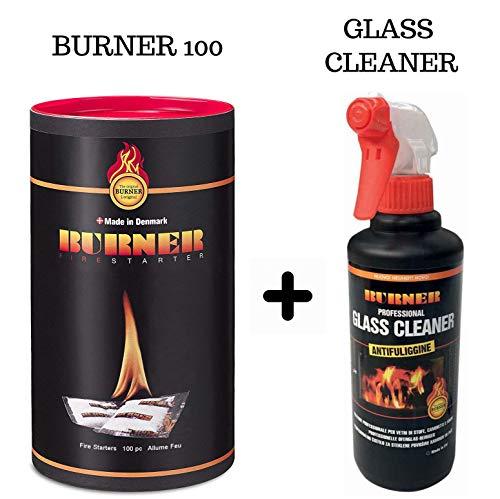 Burner Set 1 Accendifuoco Ecologico con Bio oil 100 bustine + 1 Glass Cleaner Anti fuliggine 500ml che pulisce vetri di stufe, camini e caminetti