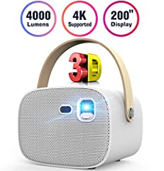 """【4000 Lumens&HD 4K Video】Upgrated Android system,4000 Lumen mini projector,support HD 4K,1080p with native resolution 854*480P, clear and bright to view the screen in day and dark environment.Contrast 3000:1 with DMD 0.2"""" DLP technology instead of tr..."""