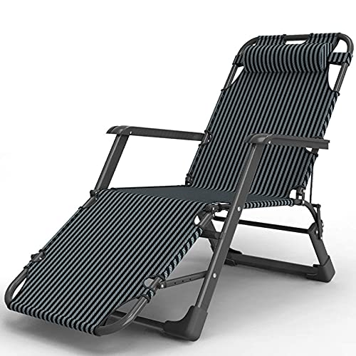 HJQFDC Gartenterrasse Outdoor Sun Recliner Liegestühle Folding Faltbare Multi-Position Relaxer-Stühle mit Kissen, Blau MEI (Color : Black)