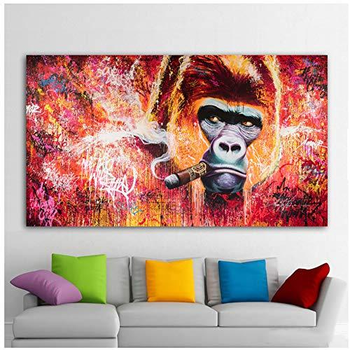 NIEMENGZHEN Imprimir en Lienzo Mono Gorila fumando Cuadros Lienzo Pintura Arte de la Pared para Sala de Estar decoración Moderna Pintura para el hogar 19.6
