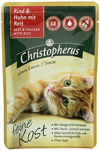 Christopherus Alleinfutter für Katzen, Nassfutter, Ältere Katze, Rind und Huhn mit Reis, 12 x 85 g Beutel