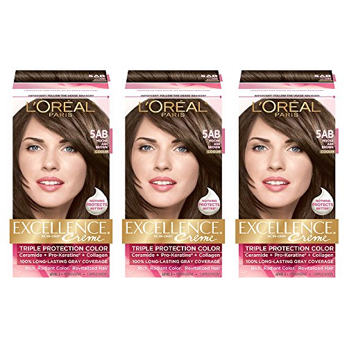 L'Oreal Paris Excellence Creme Permanent Hair Color, 5AB Mocha Ash Brown, 100% Gray Coverage Hair Dye, Pack of 3