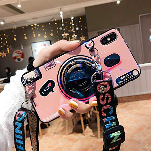 La funda protectora de cámara retro es adecuada para la funda para teléfono móvil iPhone12mini Promax 12pro, iPhone11pro X Bluray iPhone7 / 8 (con soporte y cordón)