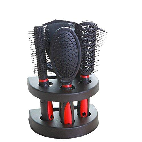 Hjuns Lot de 5 brosses à cheveux avec miroir et support Couleur aléatoire