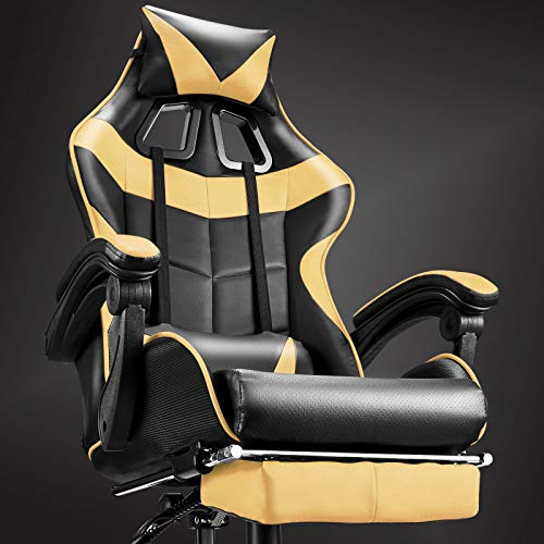 Soontrans High Back Computer Chair,Gaming Chair,Ergonomic Racing Style PC Office Chair,Desk Chair with Headrest Lumbar Support Footrest Adjustable Recliner Chair for Home,Office,Gaming Room (Golden)