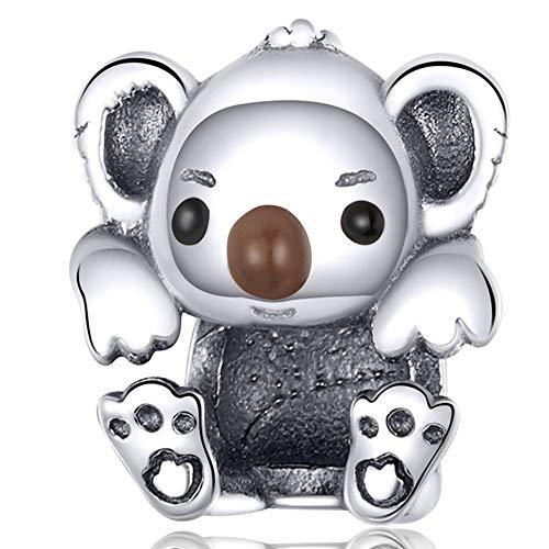 ZiFouDou Abalorio para Pulsera Pandora&Chamilia,Abalorio de Plata de Ley 925,Originales Bead Charm para Collare -Bebé Koala