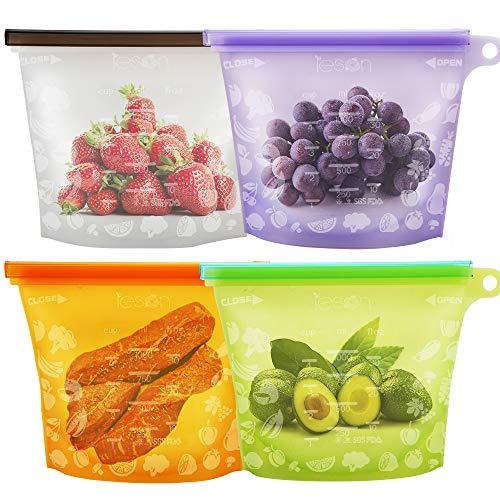 Lebensmittel Beutel Koch Beutel Küche Beutel Wiederverwendbare aus Silikon für Obst Gemüse Milch Snacks Fleisch (4 Packungen)
