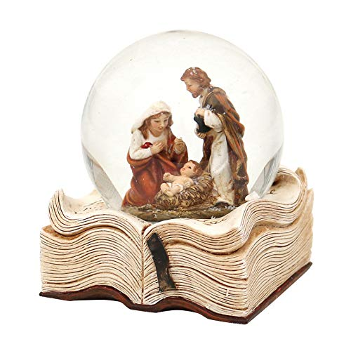 Dekohelden24 Schneekugel mit Heilige Familie auf Buch, Maße H/B/Ø Kugel: ca. 9 x 7,5 cm/Ø 6,5 cm.