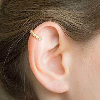 Helix piercing Gold pave cartilage hoop earring CZ