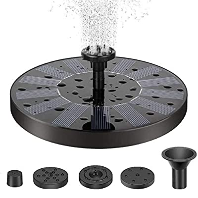 Solar Fountain Pump for Bird Bath with 4 Nozzle, Freestanding Floating Solar Panel Kit Water Pump for Garden, Patio, Pond, Pool, and Outdoor