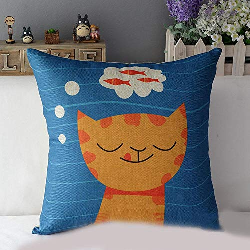 Sccarlettly Baumwolle Leinen Quadratisch Kissen Fall Chic Katze Casual Dekorativer Druck Kissenbezug 43 X 43 A Very Cute Cat S Icon (Color : As Shown 1, Size : Size)