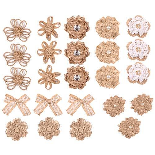cailiya 24 Piezas Flores de Yute, Juego de Flores Arpillera, para Manualidades, Regalo de San Valentín, Decoración Bodas, 8 Estilos para Ramos Artesanales de Bricolaje