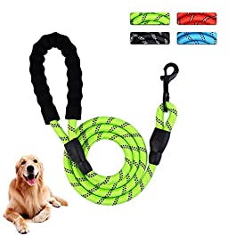 PATIO PLUS 6 FT Rope Dog Lead with Soft Padded Handle and High Reflective Threads, Premium Quality Dog Slip Rope Leash Supports The Strongest Pulling Large Medium Dogs