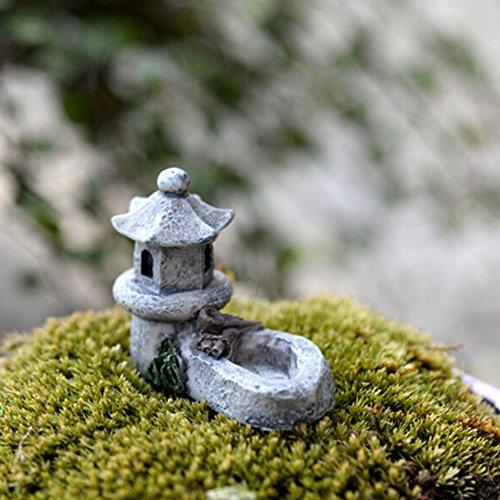 ROKFSCL-Mini-Laterne, asiatische Pagode, für den Außenbereich / Gartendeko, Kunstharz, Mini-Landschaftsdekoration, 4,5 x 5 cm, zufällige Farbauswahl, Wie abgebildet, 4.5*5.5cm/1.77